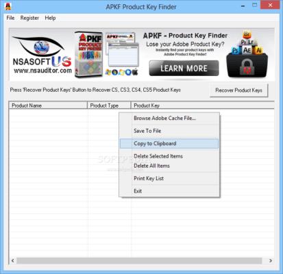 دانلود APKF Adobe Product Key Finder 2.5.6.0 - یافتن شماره سریال برنامه ادوبی